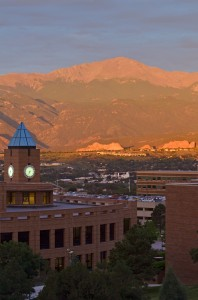 Garden of the Gods Park seen from the UCCS campus at sunrise on Sept.4 Photo by Glenn Asakawa
